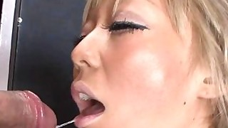 blonde japanese lingerie sucking