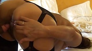 doggy-style fuck high-heels lingerie stocking wife