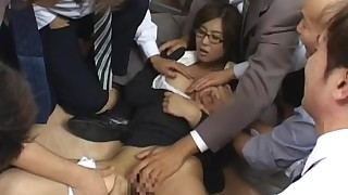 ass babe bukkake cum cumshot facials gang-bang glasses hairy