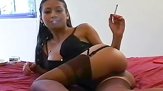 big-tits fetish foot-fetish lingerie pussy shaved smoking solo stocking