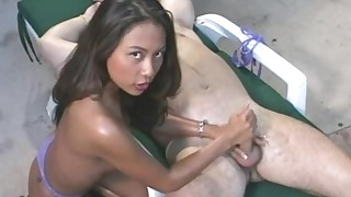 bikini cumshot handjob hardcore hot model natural oil outdoor