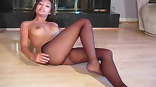 big-tits boobs brunette fingering masturbation nylon panties tease