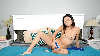 solo slender shaved pussy oil nude little small-tits innocent